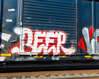 Beer: Train are, graffiti. Frame not included. Individually photographed and printed by Frank Heflin