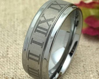 SIZE 10 - 8mm Personalized Tungsten Ring, Custom Promise Ring for Him, Purity Ring, Coordinates Ring, Groomsmen Ring, Couple Initials Ring