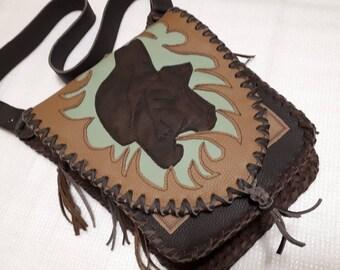 leather bag, shoulder bag,bag for hanging,genuine leather,brown leather, bears,western bag,country,hippi,boho,fancy bag,handmade,saddle bag