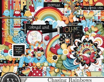 On Sale 50% Chasing Rainbows  Digital Scrapbooking Kit, Elements and Embellishments