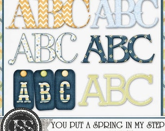 On Sale 50% Alphabets - You Put A Spring In My Step Alphabets Digital Scrapbooking Kit