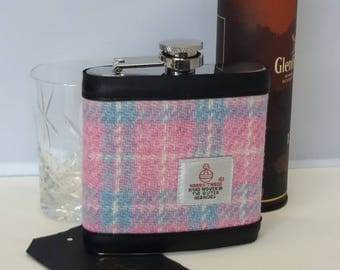 Harris Tweed Hip Flask / Leather / Light Pink and Blue Checked / Pastel Colours