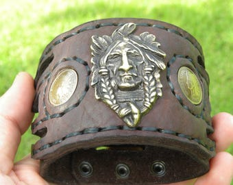 Ketoh Chief Indian Head penny coin full liberty Men cuff bracelet wristband American Buffalo  Bison leather customize to your wrist size.