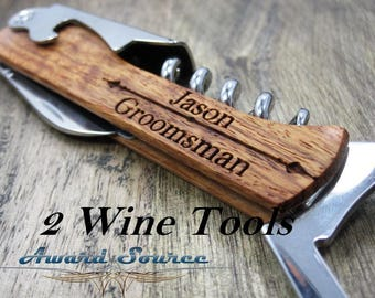 gifts for brother in law, gifts for in laws  custom wine bottle opener, gift for father in law,wedding gift. 2 Groomsmen Gift, wine tools