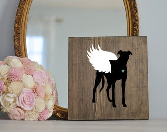Greyhound Angel Wing Silhouette on Wood, Remembrance Sign, Dog Memorial, Loss of Dog, Greyhound, Dog, Greyhound Silhouette, Memorial