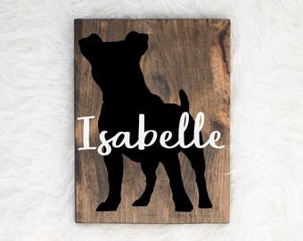Hand Painted Jack Russell Silhouette on Stained Wood with Name Overlay, Dog Decor, Painting, Gift for Dog People, New Puppy Gift