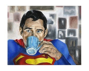 Superman Needs Coffee - Superhero Superman Art Print (Unframed)