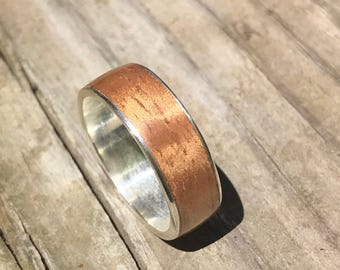 Mens ring, wood ring, Sterling Silver ring, Mens wood ring, Mens wooden ring, Mens Silver ring, Wood wedding band, Mens wedding band