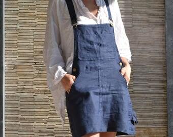 Linen Overall Short Skirt