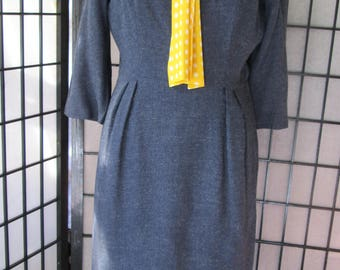 1960's blue grey wiggle dress with yellow polka dot tie collar, 3/4 sleeves, vintage secretary dress