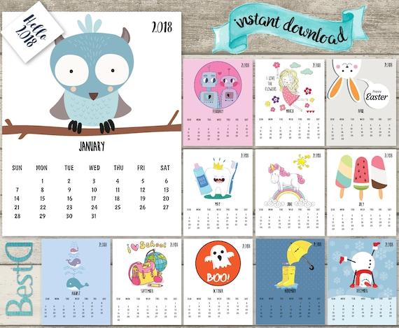 Calendar Kids 2018 : Kids calendar funny printable pages