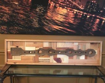 Long Custom Handcrafted Wooden Artwork   Modern Rustic Industrial Look