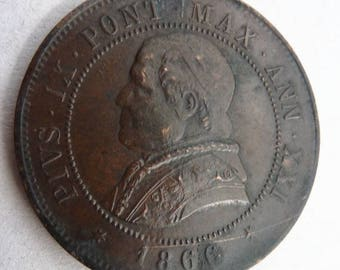 Italian Papal States Coin Of Pope Pius IX Dated 1866.