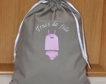 Girls linen lingerie bag