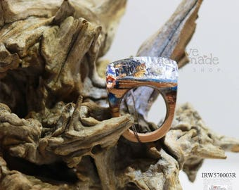 Resin and wood ring,the magic world under the ocean, special and unique gift