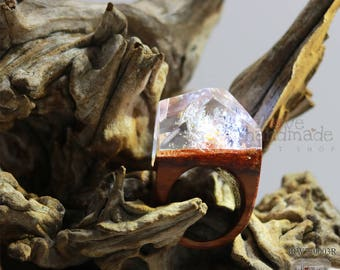 Resin wood ring,magic world under the ocean,special and unique gift
