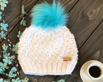 Faux Fur Pom Pom Beanie - Slouchy beanie - Chunky knit hat - winter hat - Beanie with faux fur pom pom -