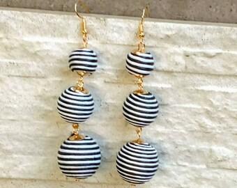 Bon bon earrings Black & White striped ball dangle earrings, bon bon earrings, triple ball earrings, pom pom earrings  statement earrings