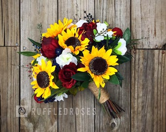 Sunflower Bouquet, Sunflower Bridal Bouquet, Boho Sunflower Bouquet, Burgundy Sunflower Bouquet