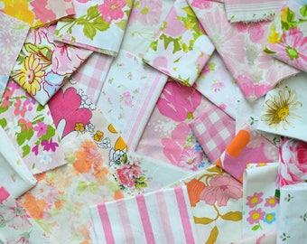 PINK Vintage Sheet Scrap Bundle. 12 oz Mix. Stash Builder. Pink Fabric Bundle. Vintage Sheets. Floral. Fabric Squares. Destash. Scrap Pack 5