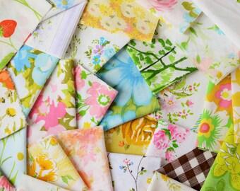 06 oz. Vintage Sheet Scrap Fabric Bundle. MULTI Color. Rainbow. Stash Builder. Floral. Upcycle. Destash. Scrap Pack 11.