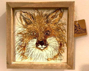 Framed Wild Fox Original Illustration