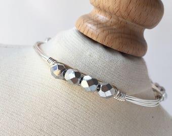 Silver Czech Wire Wrapped Bangle, Wire Bangle, Wire Wrap Bangle, Wire Wrapped Bracelet, Wire Wrap Bracelet, Wire Jewelry