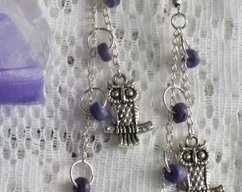 Purple OWL & wooden beads earrings on silver chain