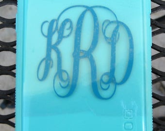 custom monogrammed samsung galaxy s8 cover/the color is like a light turquoise