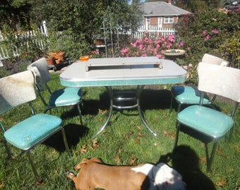 Medium image of vintage 1950 u0027s cracked ice and chrome tables with four chairs vintage 50 u0027s table vintage