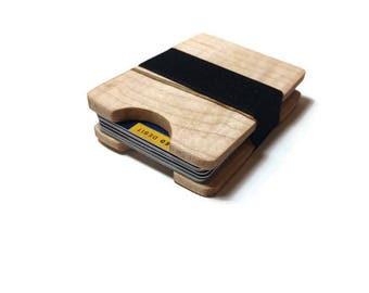 Handmade Curly Maple Wood Wallet, Minimal Wallet, Credit Card Holder, Personalized Wallet