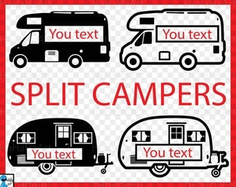 Split Campers - Clipart / Cutting Files Svg Png Jpg Dxf Studio Digital Graphic Design Instant Download Commercial Use icon blank  01099c