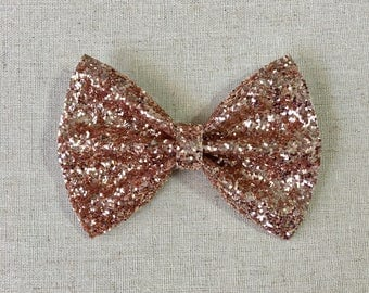 Rose Gold Glitter Bow Tie, Rose Gold Glitter Hair Bow, Glitter Hair Bow