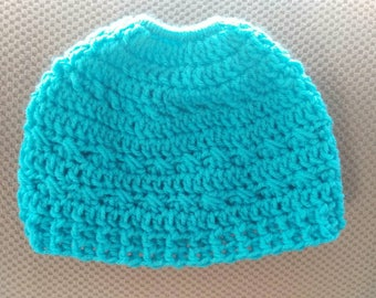 Messy Bun / Pony Tail Beanie Hat in Turquoise