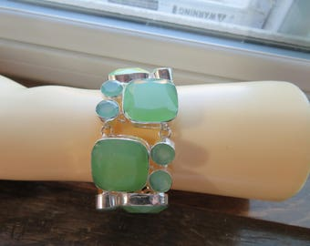 "Handcrafted Faceted 355CTS Green Chalcedony 925 Silver Bracelet Jewelry Silver Ebay Christmas Special, 6"" to 9""/Adjust"