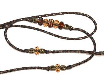 "Brown/Bronze/Black 36"" hand braided kangaroo leather dog show leash/lead clip or loop with beads"