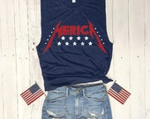 Heavy Metal Merica... Heather Navy Muscle Tee, Funny Shirt, Muscle Tank, Fourth Of July, July 4th, Independence, USA, Patriotic,Flag