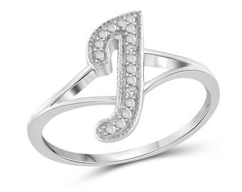 """White Diamond Accent """"J"""" Initial Spell it Out Ring in Sterling Silver"""