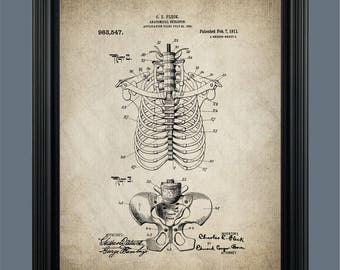 Vintage Skeleton Patent Print - Human Spine - Skeleton Poster - Anatomical Skeleton - Medical Skeleton - Doctors Office Decor - Bones - #136