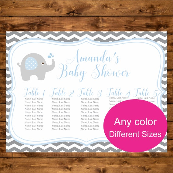 Baby Shower Seating: Elephant Baby Shower Seating Chart, Printable Elephant