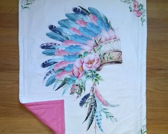 Baby Blanket, Baby Comforter, Super Toddler Blanket, Super Toddler Comforter.  Pink and Aqua Indian Headdress with Flowers and Feathers