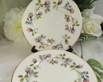 Tuscan Plates , Vintage 6  Tea/ Side Plates , Wild Rose