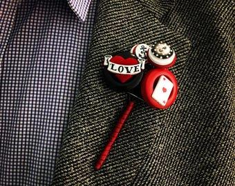 Rockabilly Buttonhole / Button Buttonhole / Red White and Black Buttonhole / Alternative Buttonhole / 1950's Buttonhole