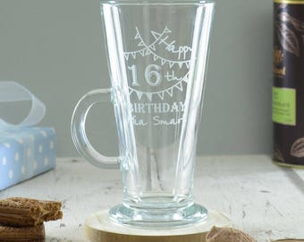 Happy 16th Birthday Latte Coffee Glass