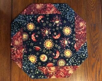 Celestial Table Topper - Octagonal Table Topper - Celestial Table Decor - Sun, Stars, Moon, Planets - Night Sky