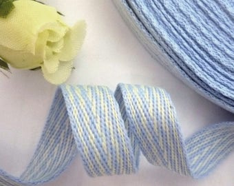 "5yds - 50 yds Light Blue with White Stripe Herringbone Ribbon Twill Tape 3/8"" 1cm width TR1"