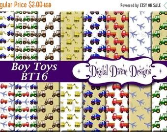 BTS Boy Toys Digital Scrapbooking  Paper Set - Instant Download
