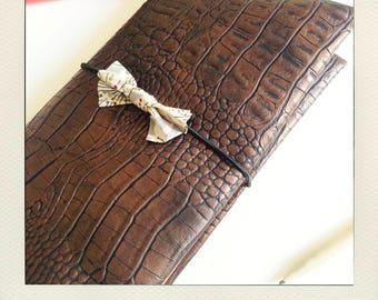 Buldori - kit Brown Organizer skin snake + - traveler notebook - Bullet journal - fauxdori - midori notebooks