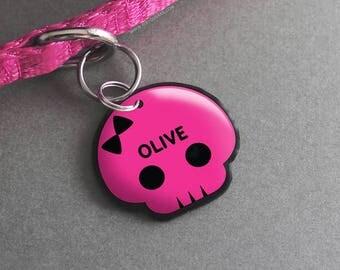 Cute Punk Skull Pet ID Tag - Halloween Pet Tag, Dog ID Tag, Cat ID Tag, Custom Pet Tag, Pink and Black  - Pixsqueaks