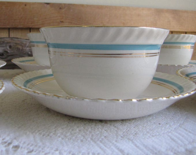 Johnson Bros. Tea Cups and Saucers Old English Set of Six (6) Coffee Cups and Saucers Circa 1945 Discontinued Turquoise Banded Gold Trimmed